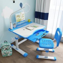 Escritorio y Silla Infantil Ajustable Azul con Lámpara