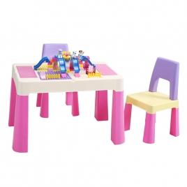 Mesa Infantil y Sillas 2 en 1 Multicolor con Placas de Construcción